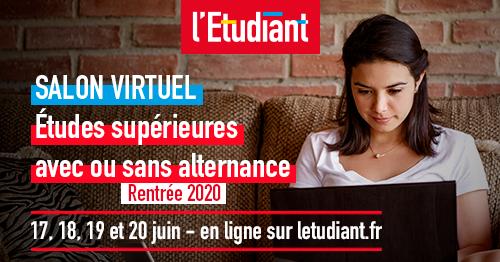 RDV au Salon virtuel de L'Etudiant les 17, 18, 19 et 20 juin 2020